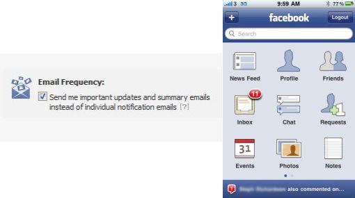 Redes sociales, Correo electrónico, Facebook,  Notificaciones