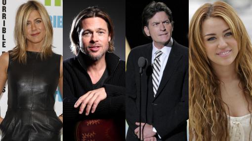 Brad Pitt, Ricky Martin, Miley Cyrus, Bono, Jennifer Aniston, Demi Moore, Charlie Sheen, Freddie Mercury