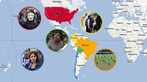 Evo Morales, Dilma Rousseff, Camila Vallejo, Juan Manuel Sánchez