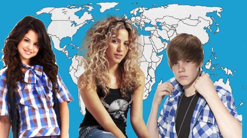 Shakira, Selena Gómez, Justin Bieber