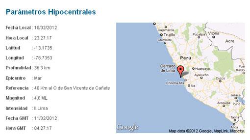 Sismos en el Perú, Cañete, Sismos en Lima, San Vicente de Cañete,  Sismo en Cañete