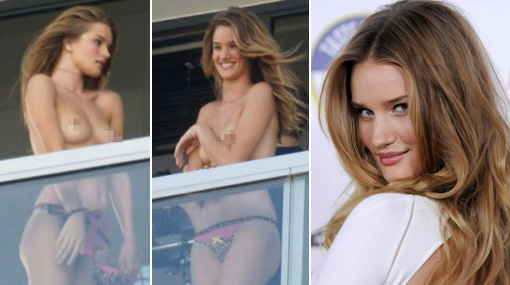 Rosie Huntington-Whiteley hizo 'topless' para los fans