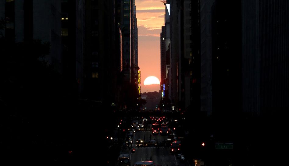 Estados Unidos, Nueva York, Fenómenos meteorológicos,  Manhattanhenge