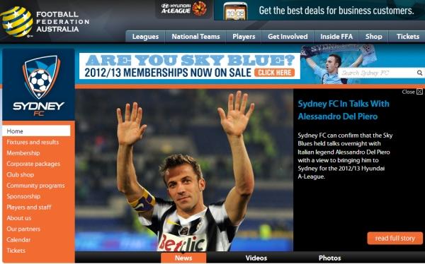 Juventus, Alessandro Del Piero, Sydney FC,  Fútbol australiano
