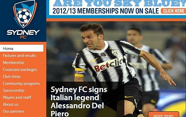 Australia, Sydney FC, Fútbol australiano,  Alessandro del Piero