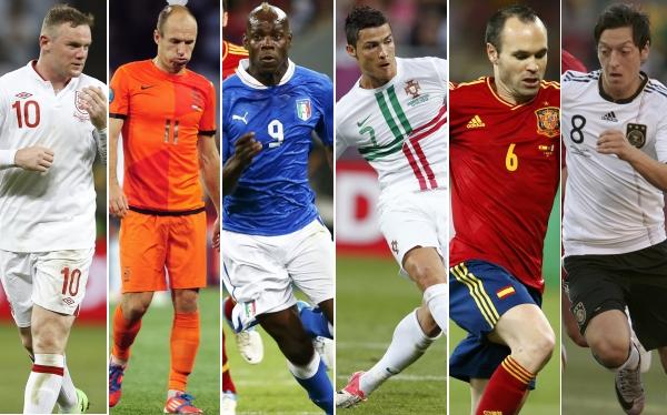 Selección italiana, Selección inglesa, Selección alemana, Selección portuguesa, Eliminatorias Brasil 2014, Selección española