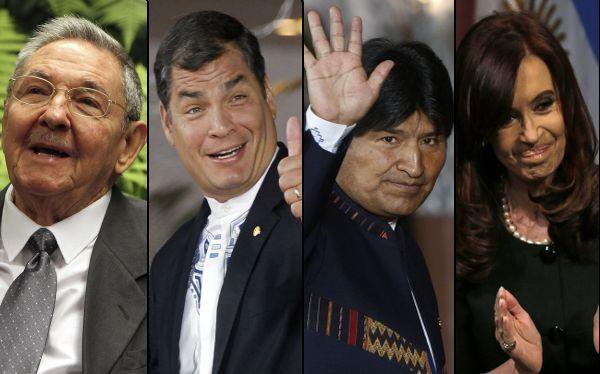 Evo Morales, Rafael Correa, Raúl Castro, Cristina Fernández, , Hugo Chávez, Henrique Capriles
