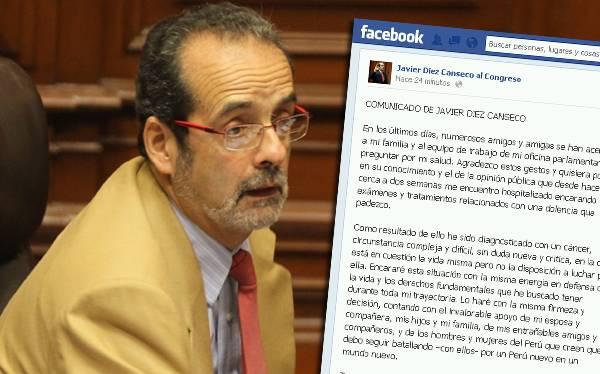 Congresista Javier Diez Canseco reveló que padece de cáncer